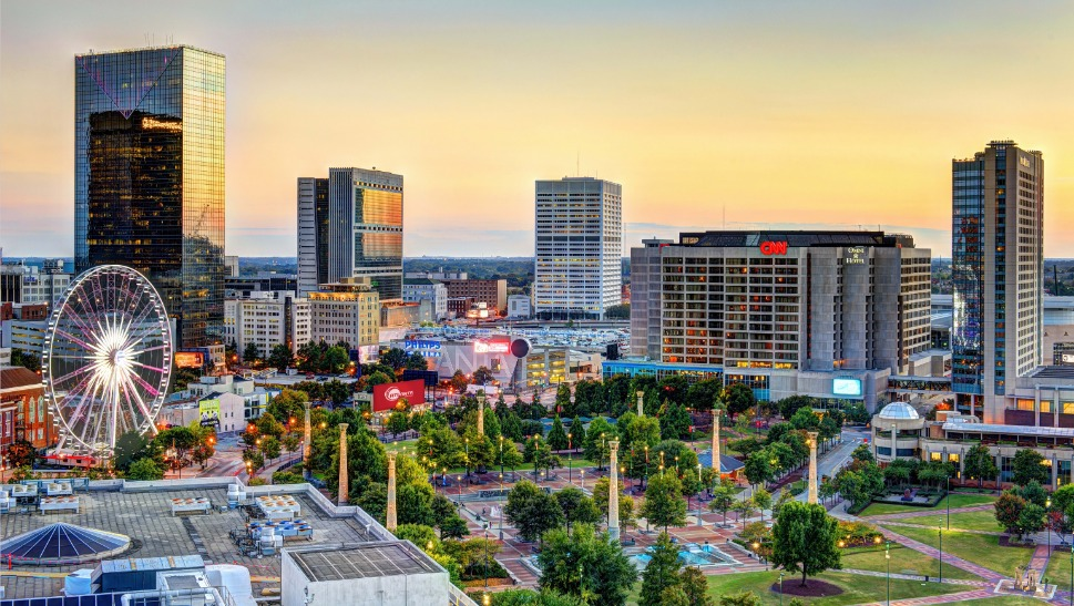 Afbeelding van Photos Atlanta Ga Atlanta Downtown Centennial Olympic Park Skyline Sunset