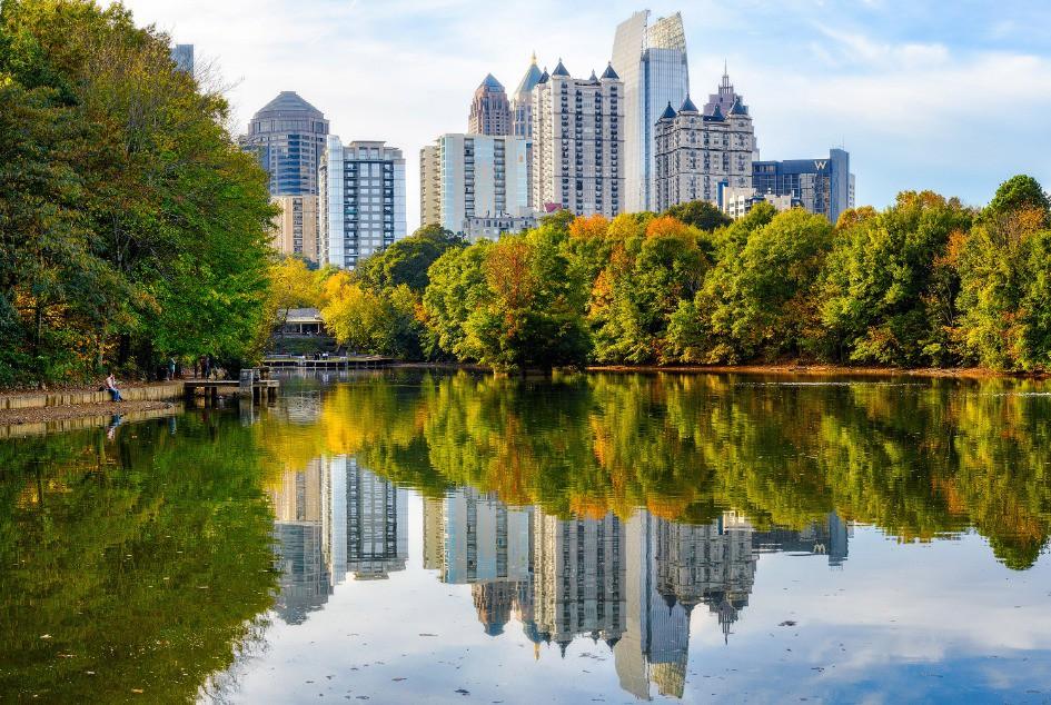 Afbeelding van Photos Atlanta Ga Atlanta Midtown Piedmont Park Daytime Skyline Lake Clara Meer Fall