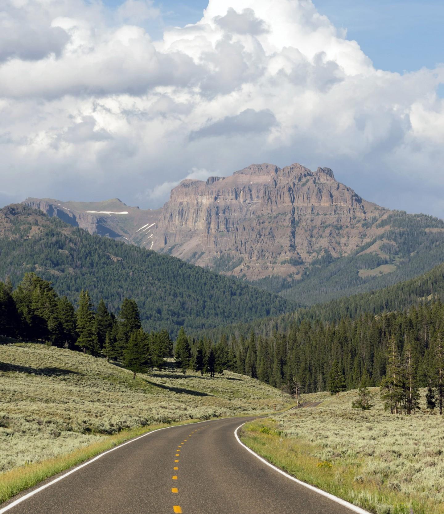 Afbeelding van Two Lane Road Transportation Yellowstone National  PCSBTJJ Min Min Min