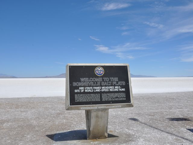 The Bonneville Salt Flats, sign, Utah