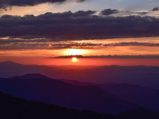 Blue Ridge Mountains, zonsondergang
