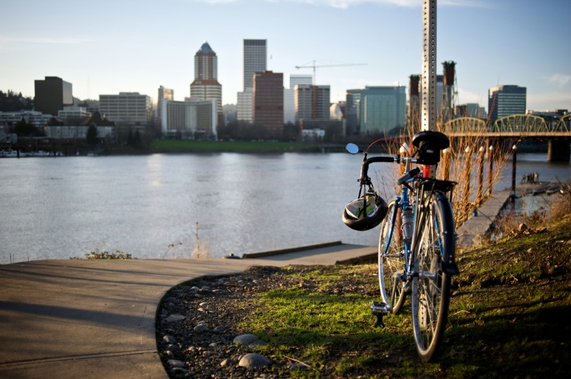 Biking On Waterfront Portland